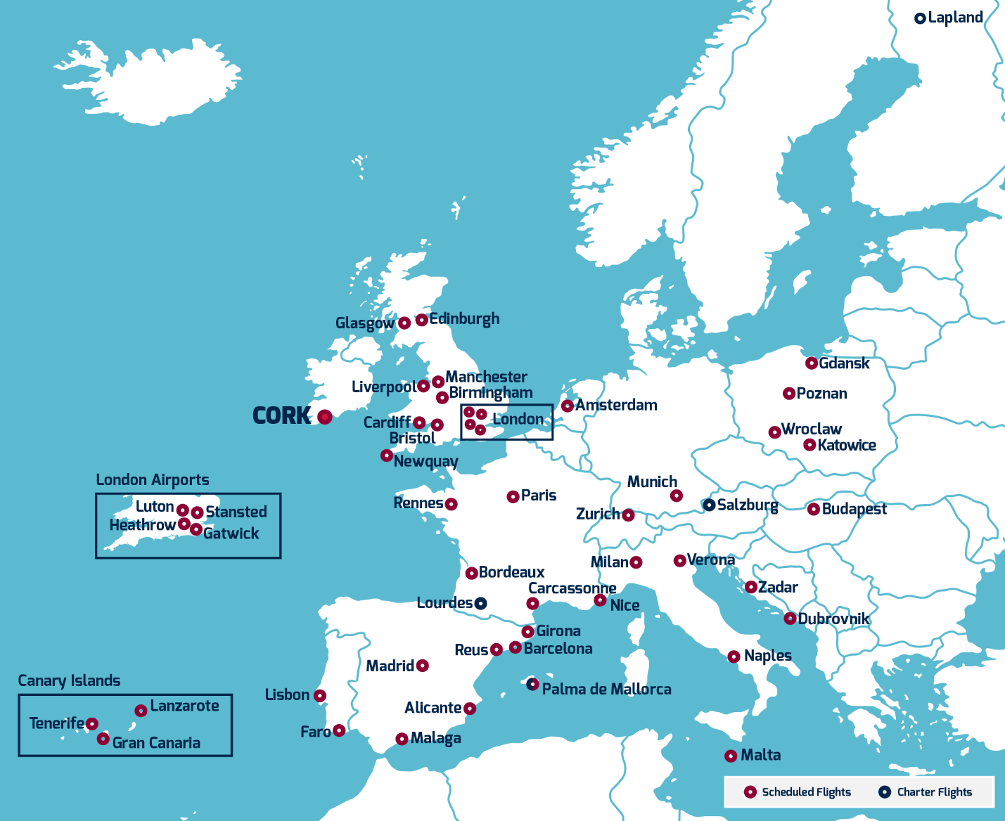 Map of Routes to Cork Ireland from mainland Europe